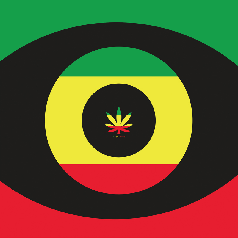 Sensi Eye Cannabis Leaf Rasta Flag